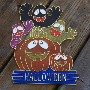 Vintage Halloween Sign Stained Glass (Plastic)